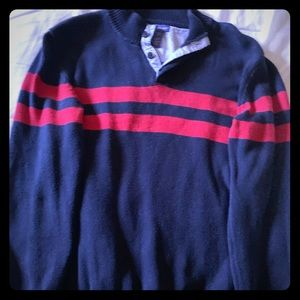 Long sleeves blue sweater with red stripes
